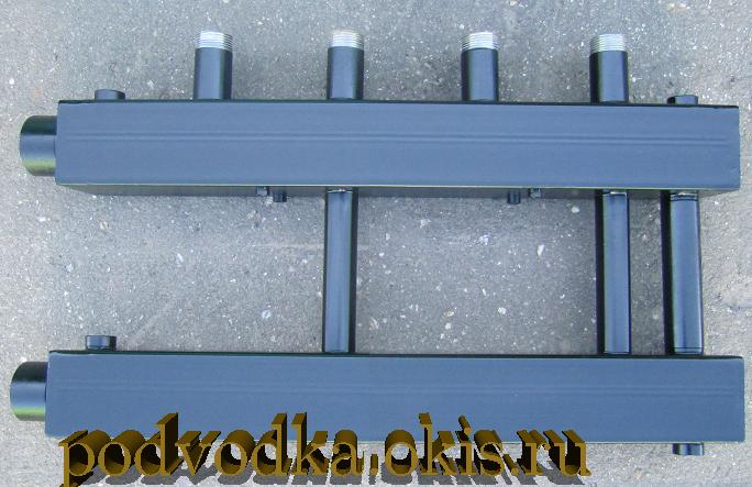 Коллектор отопления для монтажа котельной на 2 контура с перемычкой