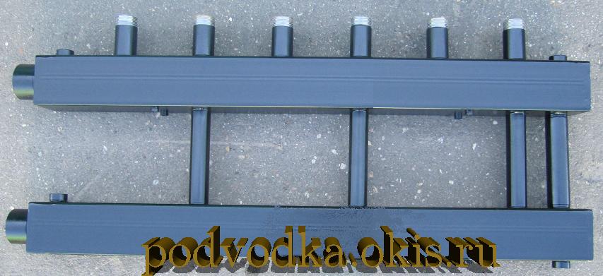 Коллектор отопления распределительный для котельной на 3 контура с перемычкой