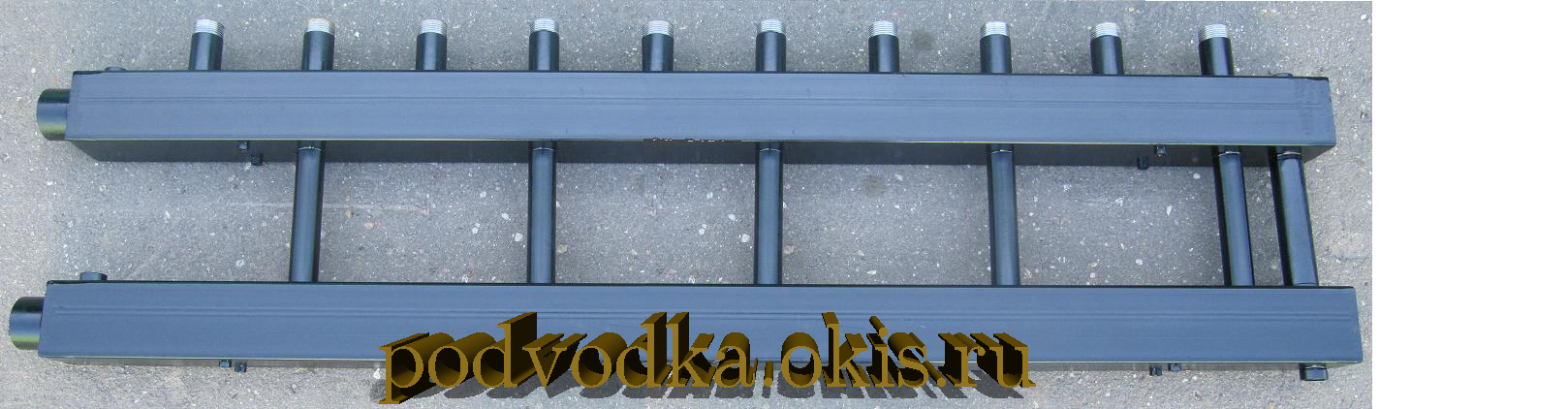 Коллектор отопления  для котельной на 5 контуров с перемычкой