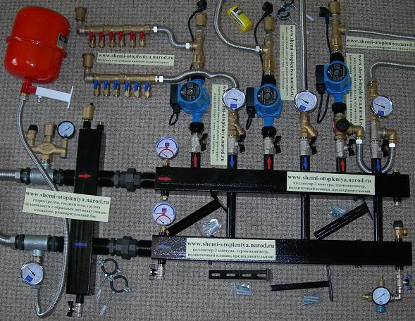 Схема отопления дома обвязка котла гидрострелкой и коллектором